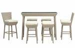 Napa Outdoor Rattan Pub Table and Stools 7 Piece Set in Oatmeal with White Cushions [EEI-617-OAT-WHI-SET-FS-EEI]
