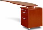 Napoli 63'' W Curved Desk Right Return with Pencil-Box-File Pedestal - Sierra Cherry on Cherry Veneer [NRTPRCRY-FS-MAY]