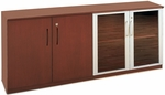 Napoli and Corsica 72''W Low Wall Cabinet with Wood and Glass Doors - Sierra Cherry on Cherry Veneer [VLCCRY-FS-MAY]