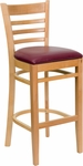 Natural Wood Finished Ladder Back Wooden Restaurant Barstool with Burgundy Vinyl Seat [BFDH-8241NBY-BAR-TDR]