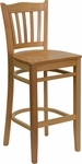 Natural Wood Finished Vertical Slat Back Wooden Restaurant Barstool [BFDH-8242NN-BAR-TDR]