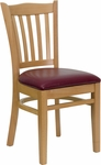 Natural Wood Finished Vertical Slat Back Wooden Restaurant Chair with Burgundy Vinyl Seat [BFDH-8242NBY-TDR]