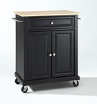 Natural Wood Top Portable Kitchen Island in Black Finish [KF30021EBK-FS-CRO]