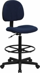 Navy Blue Patterned Fabric Drafting Chair (Cylinders: 22.5''-27''H or 26''-30.5''H) [BT-659-NVY-GG]