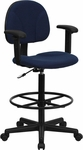 Navy Blue Patterned Fabric Drafting Chair with Adjustable Arms (Cylinders: 22.5''-27''H or 26''-30.5''H) [BT-659-NVY-ARMS-GG]