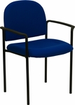 Comfort Navy Fabric Stackable Steel Side Reception Chair with Arms [BT-516-1-NVY-GG]