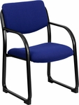 Navy Fabric Executive Side Reception Chair with Sled Base [BT-508-NVY-GG]