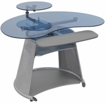Neptune Blue Tempered Glass and Steel Computer Desk with Adjustable Monitor Shelf - Silver [50350-FS-SDI]
