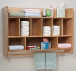 New Wave Hang On The Wall Birch Laminate Diaper Unit with Towel Rod [WB4646-FS-WBR]