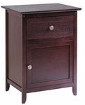Night Stand with Drawer and Cabinet with Knobs in Antique Walnut [94215-FS-WWT]