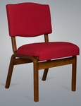 Stained Red Oak Upholstered Worship Chair with Extra Wide Seat [T-350B-TRN]