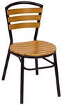 Norden Stackable Side Chair - Synthetic Teak Seat and Black Aluminum Frame [MS308STKBL-BFMS]