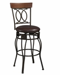 O & X Back 30''H Swivel Bar Stool [02565MTL-01-KD-U-FS-LIN]