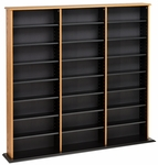 Triple Width Wall Storage with 21 Adjustable Shelves - Oak & Black [OMA-0960-FS-PP]