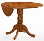 Solid Wood 42'' Diameter Round Pedestal Dining Table with 9'' Dual Drop Leaves - Oak [T04-42DP-FS-WHT]