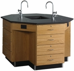 Octagonal Science Wooden Workstation with 1'' Thick Black Epoxy Resin Top and 16 Locking Drawers - 56''W x 56''D x 36''H [1546K-DW]
