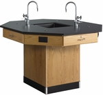 Octagonal Science Wooden Workstation with 1'' Thick Black Epoxy Resin Top and Pedestal Base - 56''W x 56''D x 36''H [1516K-DW]