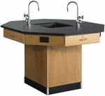 Octagonal Science Wooden Workstation with 1'' Thick Black Epoxy Resin Top and 4 Locking Drawers - 62''W x 62''D x 36''H [1616K-DW]