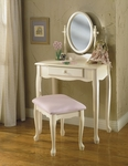 Off White Vanity w/ Mirror and Bench [929-290-FS-PO]