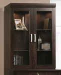 Office Port 33''W x 47''H Wooden Lateral File Hutch with Display Lighting - Dark Adler [408294-FS-SRTA]
