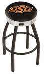 Oklahoma State University 25'' Black Wrinkle Finish Swivel Backless Counter Height Stool with Ribbed Accent Ring [L8B3C25OKSTUN-FS-HOB]