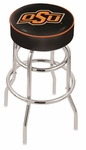 Oklahoma State University 25'' Chrome Finish Double Ring Swivel Backless Counter Height Stool with 4'' Thick Seat [L7C125OKSTUN-FS-HOB]