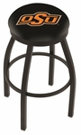 Oklahoma State University 25'' Black Wrinkle Finish Swivel Backless Counter Height Stool with Accent Ring [L8B2B25OKSTUN-FS-HOB]