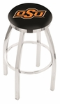 Oklahoma State University 25'' Chrome Finish Swivel Backless Counter Height Stool with Accent Ring [L8C2C25OKSTUN-FS-HOB]