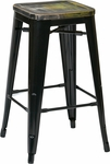 OSP Designs Bristow 26'' Metal Barstool with Wood Seat - Set of 4 - Antique Black and Vintage Ash Cameron [BRW31263A4-C301-FS-OS]