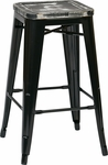 OSP Designs Bristow 26'' Metal Barstool with Wood Seat - Set of 4 - Antique Black and Vintage Ash Yellow Stone [BRW31263A4-C306-FS-OS]