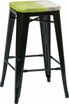 OSP Designs Bristow 26'' Metal Barstool with Wood Seat - Set of 4 - Antique Black and Vintage Pine Alice [BRW31263A4-C307-FS-OS]