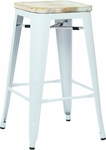 OSP Designs Bristow 26'' Metal Barstool with Wood Seat - Set of 2 - Antique White and Vintage Ash Yellow Stone [BRW312611A2-C308-FS-OS]