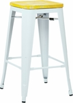 OSP Designs Bristow 26'' Metal Barstool with Wood Seat - Set of 2 - Antique White and Vintage Pine Irish [BRW312611A2-C305-FS-OS]