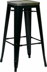 OSP Designs Bristow 30'' Metal Barstool with Wood Seat - Set of 4 - Antique Black and Vintage Ash Cameron [BRW31303A4-C301-FS-OS]
