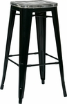 OSP Designs Bristow 30'' Metal Barstool with Wood Seat - Set of 4 - Antique Black and Vintage Ash Crazy Horse [BRW31303A4-C306-FS-OS]