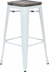 OSP Designs Bristow 30'' Metal Barstool with Wood Seat - Set of 4 - Antique White and Vintage Ash Crazy Horse [BRW313011A4-C306-FS-OS]