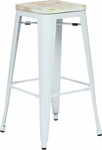 OSP Designs Bristow 30'' Metal Barstool with Wood Seat - Set of 4 - Antique White and Vintage Pine Irish [BRW313011A4-C305-FS-OS]