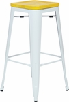 OSP Designs Bristow 30'' Metal Barstool with Wood Seat - Set of 4 - Antique White and Vintage Yellow Stone [BRW313011A4-C308-FS-OS]