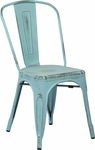 OSP Designs Bristow Stackable Armless Metal Chair - Set of 2 - Antique Sky Blue [BRW29A2-ASB-FS-OS]