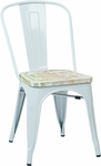 OSP Designs Bristow Metal Chair with Wood Seat - 2-Pack - White and Vintage Pine Irish [BRW2911A2-C305-FS-OS]