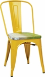 OSP Designs Bristow Metal Chair with Wood Seat - 2-Pack - Yellow and Vintage Pine Alice [BRW2910A2-C307-FS-OS]