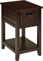 OSP Designs Camille Wood Side Table with Two Storage Compartments - Walnut