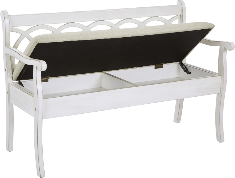 Osp Designs Coventry Storage Bench With Seat Cushion Antique White And Beige Cvn371 Aw By