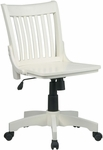 OSP Designs Deluxe Armless Wood Banker's Desk Chair with Wood Seat - Antique White [101ANW-FS-OS]