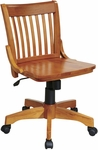 OSP Designs Deluxe Armless Wood Banker's Desk Chair with Wood Seat - Fruitwood [101FW-FS-OS]
