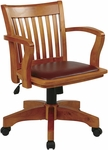 OSP Designs Deluxe Wood Banker's Chair with Brown Vinyl Padded Seat - Fruitwood [108FW-1-FS-OS]