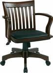 OSP Designs Deluxe Wood Banker's Chair with Black Vinyl Padded Seat - Espresso [108ES-3-FS-OS]