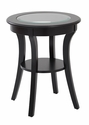 OSP Designs Harper Round Glass Top Accent Table with Wood Finish and Shelf - Black