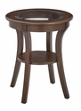 OSP Designs Harper Round Glass Top Accent Table with Wood Finish and Shelf - Macchiato
