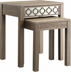 OSP Designs Helena Nesting Tables with Mirror Accent Panel - Greco Oak [HLN19-GK-FS-OS]
